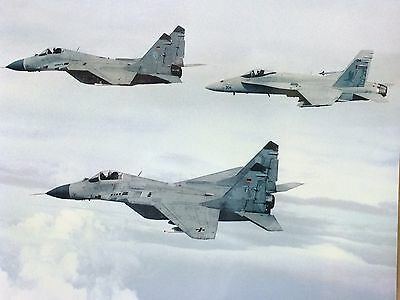 """REAL PHOTO - McDonnell F-18 Hornet & MIKOYAN MIG-21 Fighter Jets - 16"""" x 12"""""""