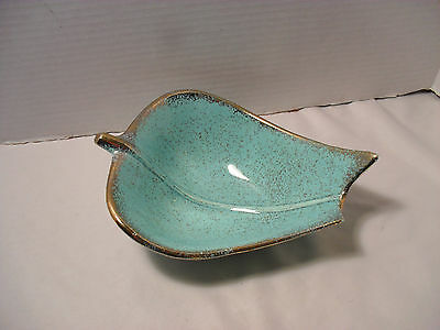 Cal Style Calstyle Seafoam Green Speckle and Gold Trim Trincket Dish or Ashtray