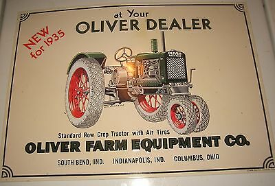 "Oliver Farm Equipment Co. 1935 Tractor Advertising Retro Sign 16"" x 11.5"" - New"