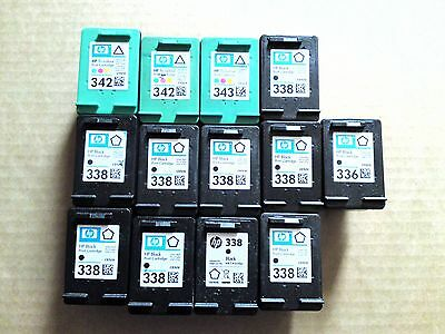13 x Empty Genuine HP 338 & HP 342 Ink Cartridges Mostly Black Some Colour