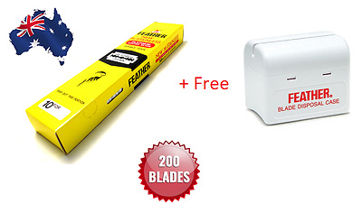 Feather Hi Stainless Double Edge Razor Blades 200 Pack+Free Blade Disposal Case