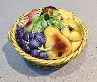 Antique French Sarreguemines Majolica Fruit Covered Basket - Great Condition