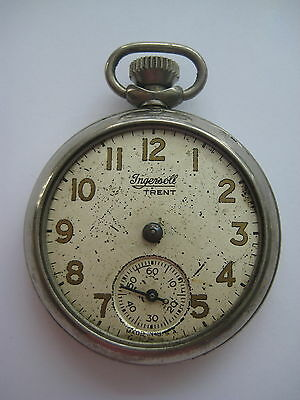 Vintage Ingersoll Trent Pocket Watch Runs For Parts Or Repair Sold As Is