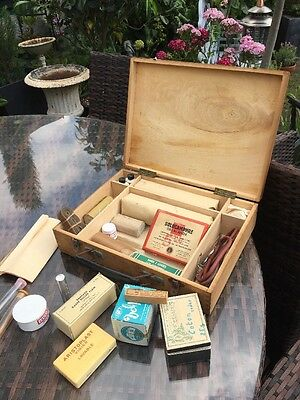 VINTAGE  French Wooden  FIRST AID BOX With Original Vintage Medical Contents.