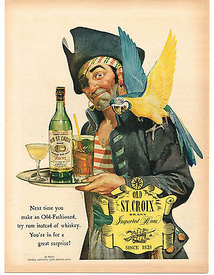 1943 Old St. Croix Rum Pirate Parrot Vtg. Print Ad Man Cave Decor