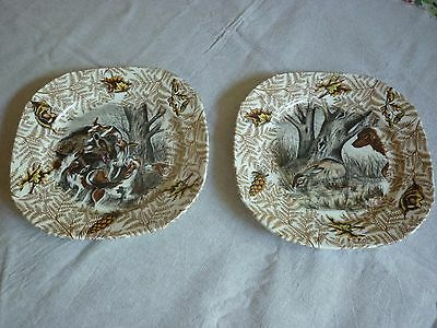 2 Assiettes  Ceramique Creation D Art Limcolor Theme Chasse Modele Fontainebleau