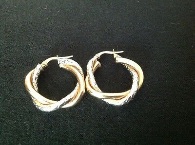 9ct Yellow and White Gold Twisted Hoop Creole earrings