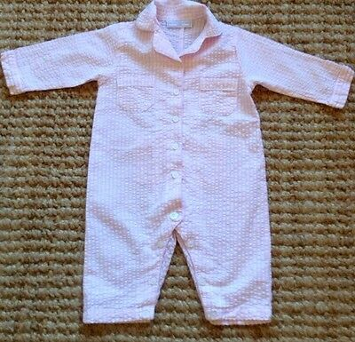 The Little White Company baby girls pink& white all in one pyjamas 6-9 Months