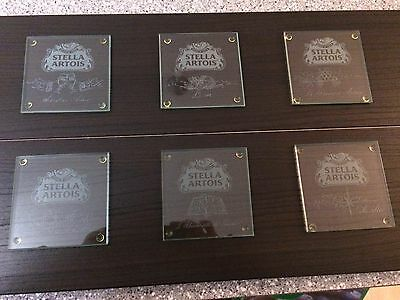 STELLA ARTOIS glass set of 6 under glass rare collector