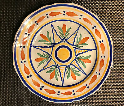 HB QUIMPER VINTAGE FAIENCE GEOMETRIC PATTERNED PLATE early 20th C