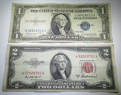 1953 US Two Dollar Bill 1935 1 Silver Certificate Antique Currency 2 Note Money