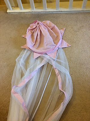 Beautiful Bed Canopy From NEXT White Net With Pink Polka Dot Top