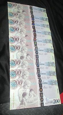Bostwana 200 Pula Lot of 9 Banknotes