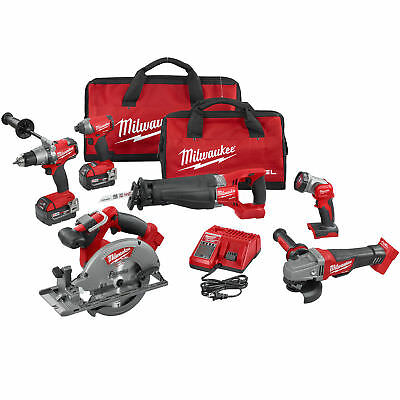 Milwaukee 2896-26 M18 18v Gen 2 FUEL Li-Ion 6-Tool Combo Kit 5.0Ah Batteries New