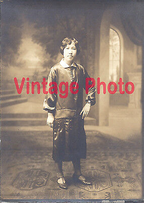 Asian Flapper Posing in T-Strap Shoes and a Shiny Dress Original 1920's Photo