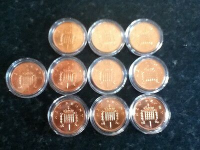 1P COIN  x 10 NEW PENNY 1971 ROYAL MINT PROOF, 1ST ISSUE OF DECIMAL CURRENCY