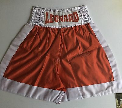 Sugar Ray Leonard Hand Signed Boxing Shorts With Photo Proof