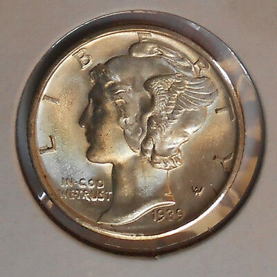 1939-d . . Mercury Dime . . Gem+ BU . . Reverse Reddish Rim Toned . MS