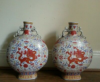 Pair of Exquisite Gorgeous Rare Chinese Antique Porcelain Pottery Bottle Vases