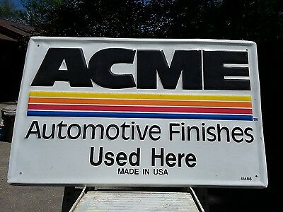 ACME Automotive Finishes Advertising sign. Excellent condition embossed metal