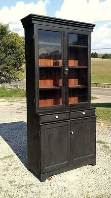 Antique Step Back One Piece Cupboard with Original Glass and Finish Circa 1880