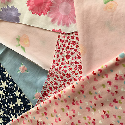 6x small printed cotton jersey fabric remnants