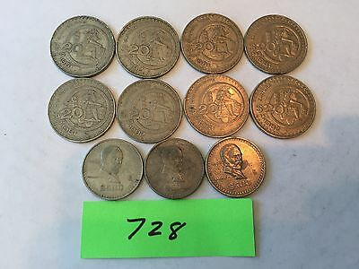 Mexico coin $20 and Peso foreign coin lot 728