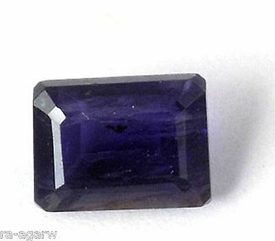 1 Pcs Natural Ink Blue Iolite Rectangle 7x9mm Faceted Handmade Making Gemstone