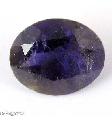 1 Pcs Natural Ink Blue Iolite Oval 8x10mm Faceted Handmade Making Loose Gemstone