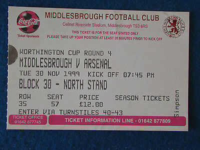 Middlesbrough v Arsenal - 30/11/99 - Worthington Cup 4th Rd Ticket