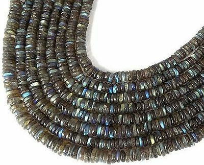 """5 Strands AAA Natural Labradorite Tyre Wheel Shape 6-7mm 13"""" Long Smooth Beads"""
