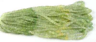 "2 Strands Natural Prehnite Heishi Smooth Square Gemstone 3-4mm Beads 16"" Long"