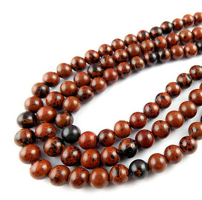 """3 Strands Natural Mahogany Obsidian Round 8-8.5mm 14.5"""" Long Smooth Jewelry Bead"""