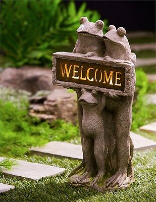 """Garden Yard Decor - Solar Lighted Welcome Frog Statue Figurine Frogs 22"""""""