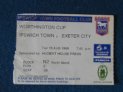 Ipswich Town v Exeter City - 18/8/98 - Worthington Cup Ticket