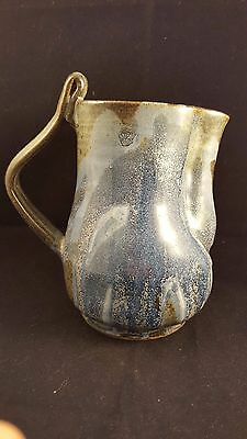 Art Pottery Studio Handcrafted Pottery Pitcher Gray and Blue - Signed