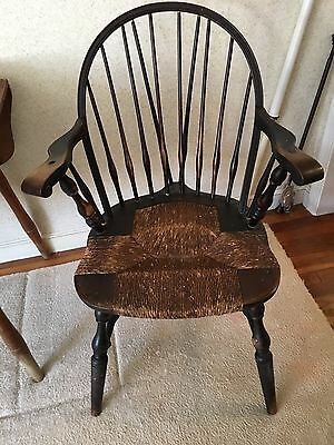 6 Antique Nichols and Stone Windsor Back Cane Rush Seat Chairs