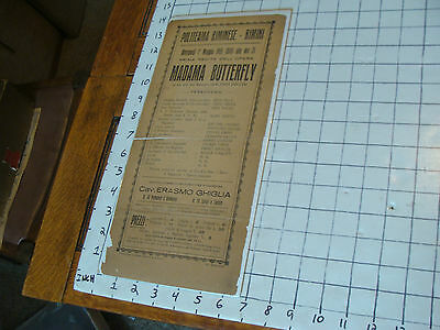 ORIGINAL THEATRE BROADSIDE: italian 1935 for MADAMA BUTTERFLY