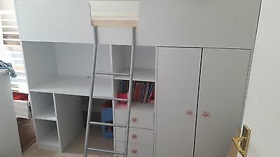 High sleeper cabin bed with desk,drawers and wardrobe
