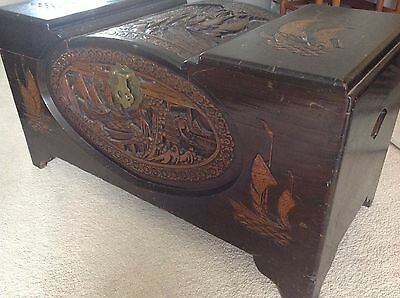Vintage possibly Antique Carved Camphor Wood Chest Storage Trunk Box