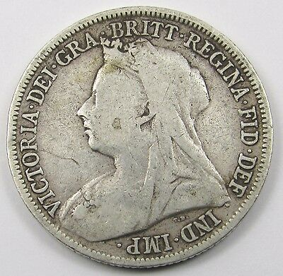 QUEEN VICTORIA VEILED HEAD SILVER ONE SHILLING COIN dated 1898