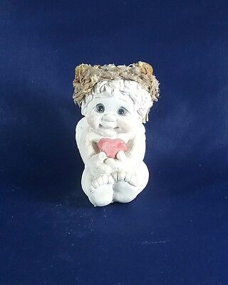 """Dreamsicles Angel Figurine sitting holding one small red heart 2"""""""