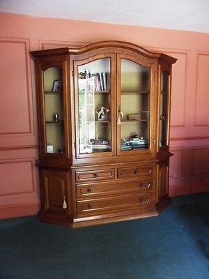 Repro Walnut Finish Curved Top Glazed Door Bookcase Display Cabinet