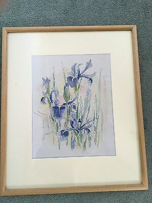Vintage completed Cross Stitch Picture  Framed under Glass-Iris  flowers