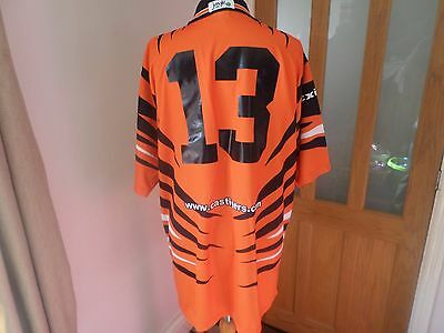 Rare Castleford Tigers Match Worn 13# Rugby Shirt Size Xl