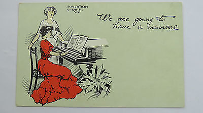 1900s Vintage Invitation Postcard Musical Evening Piano Sheet Music Concert