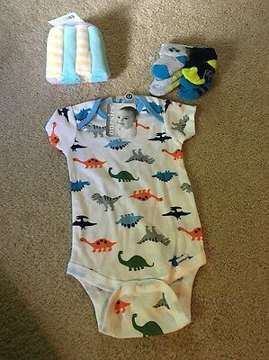 Baby Boy Socks Washcloths Body Suit Lot For Baby Shower Gift
