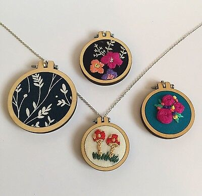 Mini Embroidery hoops with backs. 4 sizes. With chain options, and bigger packs