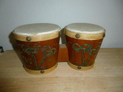 "Souvenir BONGOS from The Bahamas - Toy Size - 8 1/2"" Long x 4 1/4"" high"