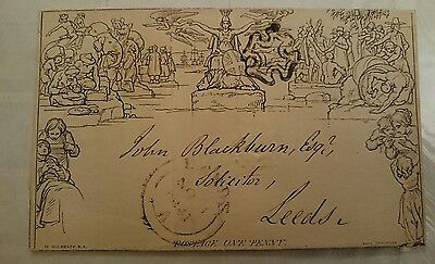 1840 1d. Mulready envelope A31. London to Leeds, very fine used